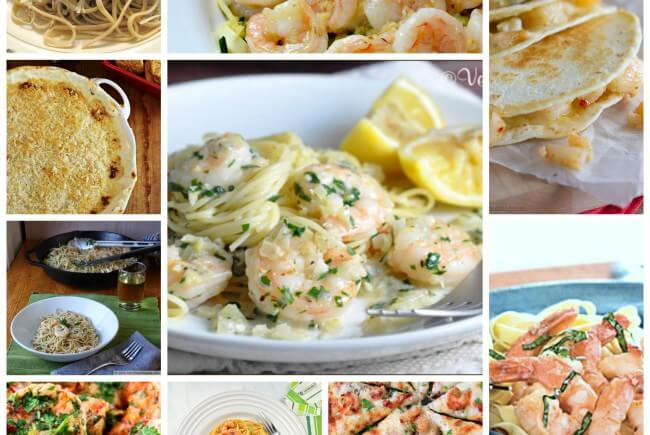 10 Shrimp Scampi Recipes- April 29 is National Shrimp Scampi Day, and this collection includes recipes from traditional shrimp scampi to non-traditional like quesdillas and pizza!