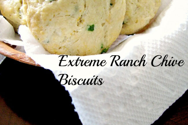 Extreme Ranch Chive Biscuits- Quick and easy biscuits made with ranch dressing and loaded with in-season fresh chives. Ready in less than 30 minutes, eat them while they are hot right out of the oven!