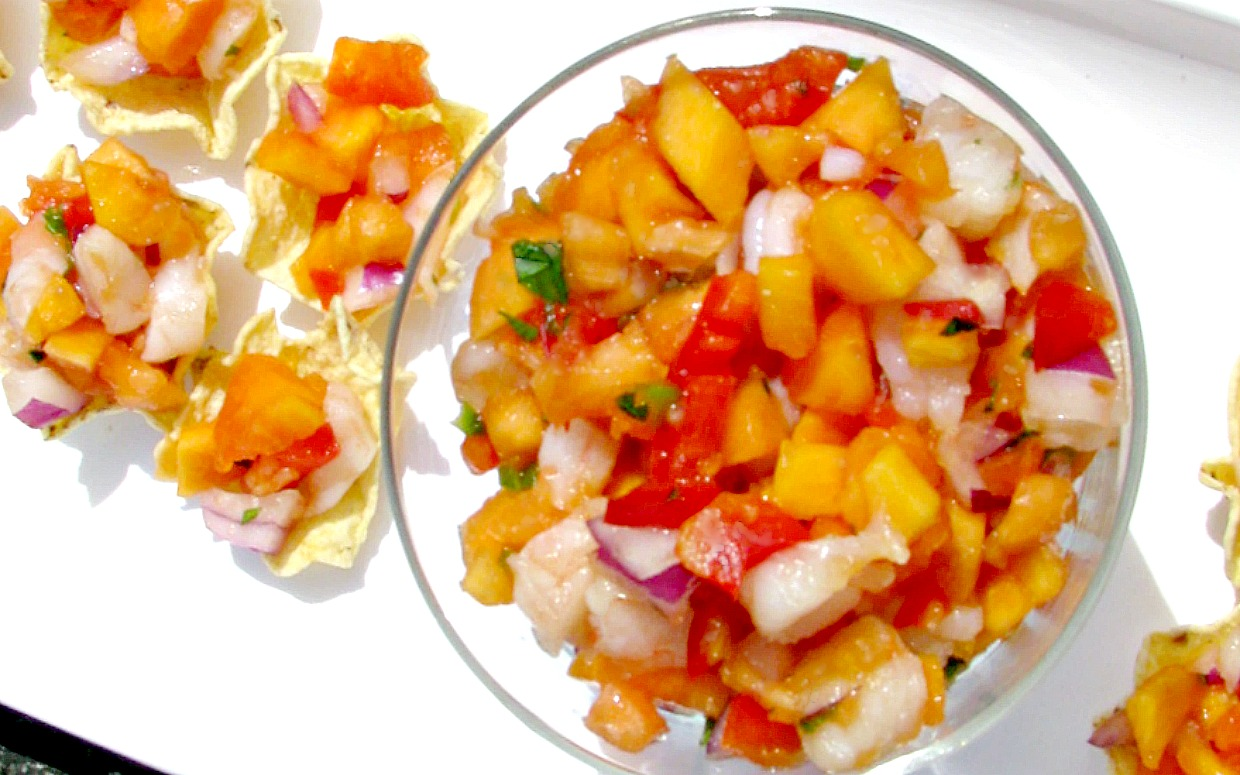Shrimp and Papaya Salsa- Flavorful, filling summertime salsa  great for a crowd!
