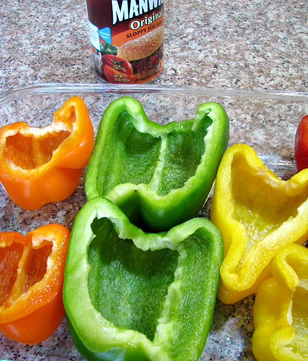 Cut bell peppers in baking dish.