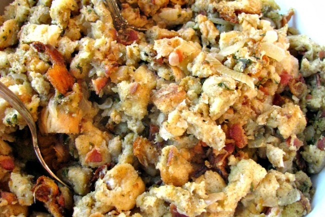 Slow Cooker Stuffing with Bacon Onions and Sage