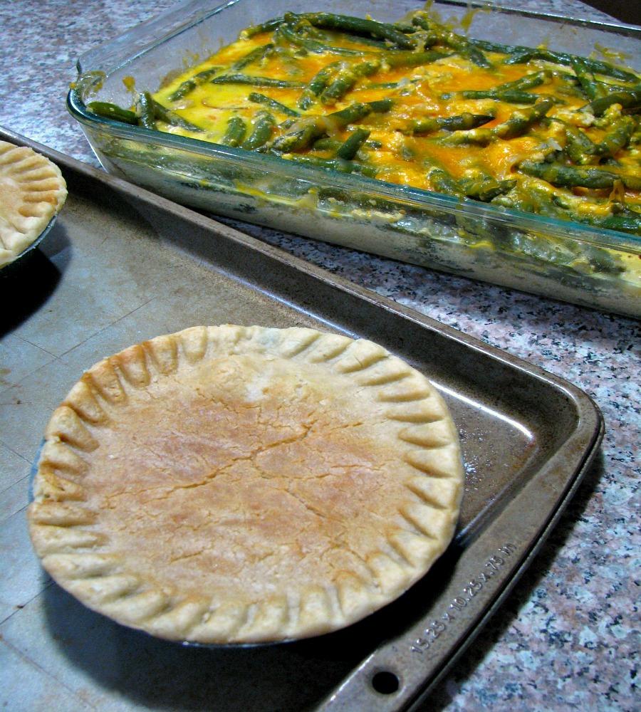 Baked Marie Callender's Pot Pies and Fresh Green Bean Casserole.